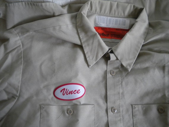 Vintage khaki punk rock work shirt vince name patch large for Mechanic shirts custom name patch