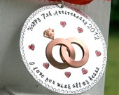 Hand Stamped Anniversary Ornament - Seventh - or any - Anniversary Hard Anondized Aluminum - LARGE 3 inch disc