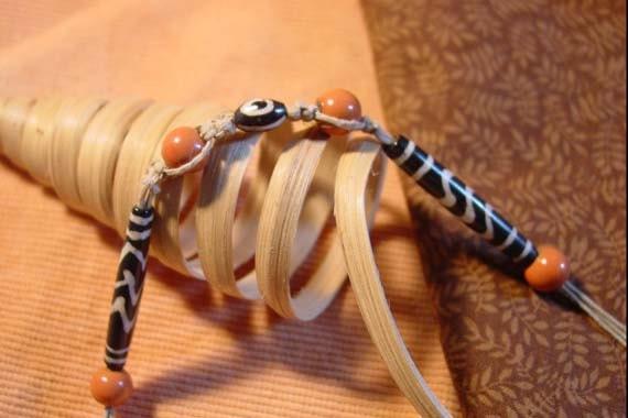 Hemp macrame zebra beaded necklace choker