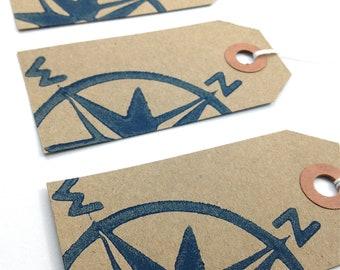 Compass Gift Tags - Nautical Hang Tags - Kraft Paper