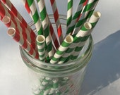 30 Christmas Red and Kelly Green Stripe Paper Straws.... w/ DIY Blank Printables, Retro, Vintage Inspired, Biodegradable