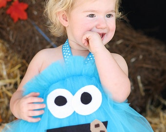 Cookie Monster Inspired Tutu Dress Costume for Halloween or dress up or playtime or parades