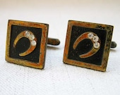 SALE! Vintage Cuff Links, Lucky Horseshoe Design, Goldtone Metal on Black Background with 3 Rhinestones,  Shabby Chic circa 1940s