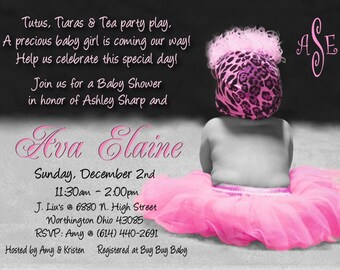 DIGiTaL FiLe - TUTU & LEOPARD HAT Baby Shower Invitation for Girl - PLeaSe Scroll Down and Read for Ordering/Printing Info