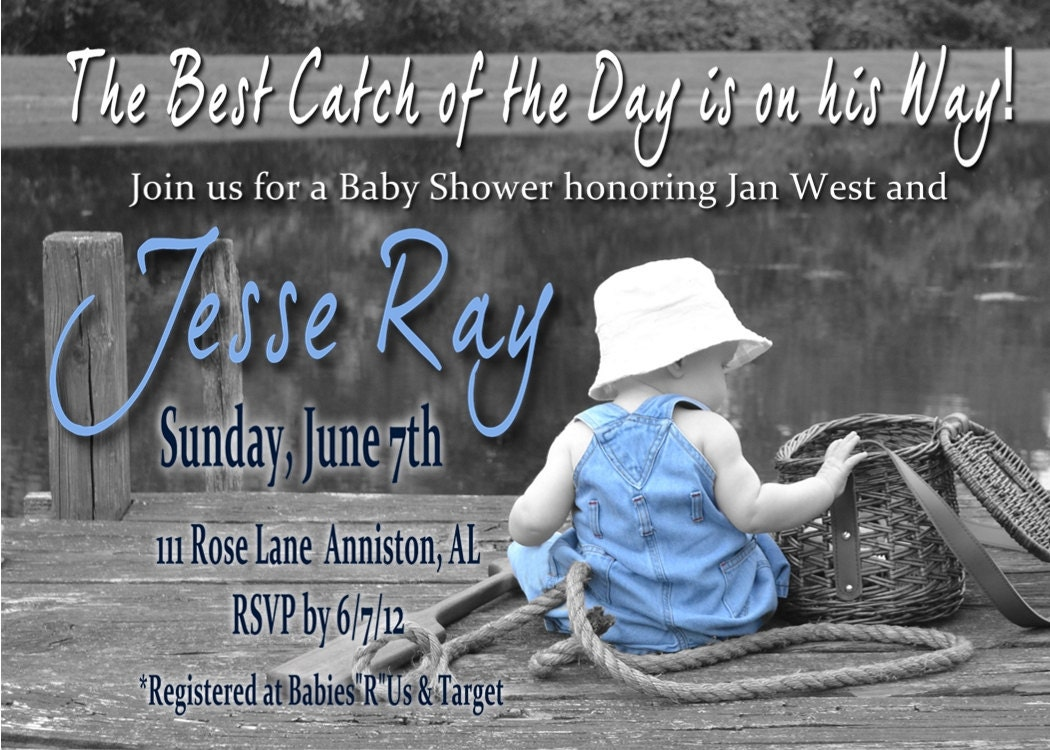 Fishing baby shower invitation for boy for Fishing baby shower invitations