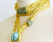 Skinny scarf lariat fiber necklace scarf necklace cotton long  yellow honey mustard aqua olive vegan ooak ceramic beads curationnation
