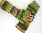 knit fingerless gloves arm warmers fingerless mittens fall autumn army green olive yellow taupe tagt team teamt
