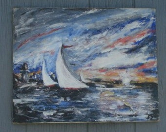 Vintage Mid Century Modern Painting on Canvas of Sailboats