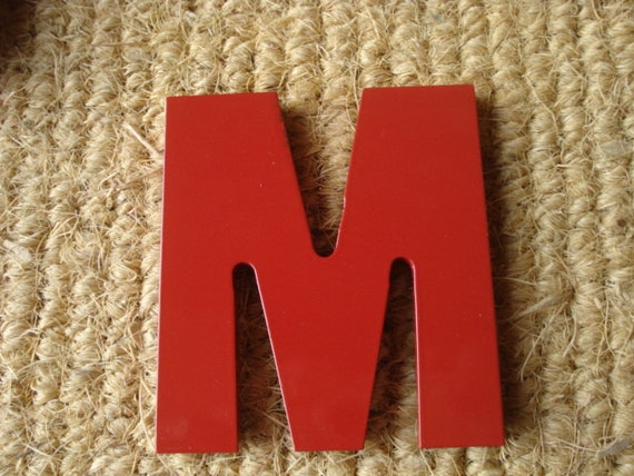Vintage Reclaimed Industrial Aluminum Metal Store Sign Letter M
