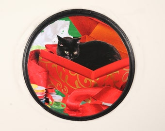 Black Cat in a Box Christmas Wall Art, Black Cat Wall Art, Gifts  and Decor for Crazy Cat Lovers by Deborah Julian