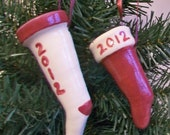 Christmas Stocking  -- 3-dimensional - Handmade - Personalized Ornament  - Name and Year - Made to Order