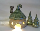 ToadHouse/ Fairy House/ Night Light with a Green Roof