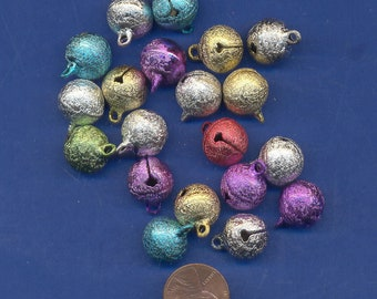 20 Pack of colored Bells, 14mm, Asssorted Colors, Stardust Finish