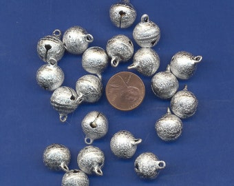 20 Pack of Silver colored Bells, 14mm, Stardust Finish