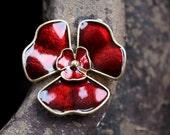 Enameled metal red poppy flower pendant, connector