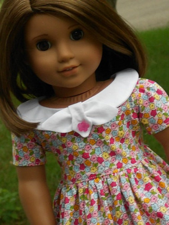 Floral Print 1950's Flair Dress For American Girl Or Similar 18-Inch Dolls