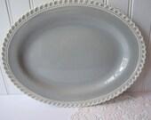 Vintage Harker Ware Chesterton Gray Blue White Oval Serving Platter