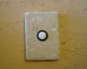 Travertine doorbell - Stone doorbell with oil rubbed bronze button