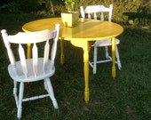 Items Similar To Shabby Chic Funky Yellow White Dining