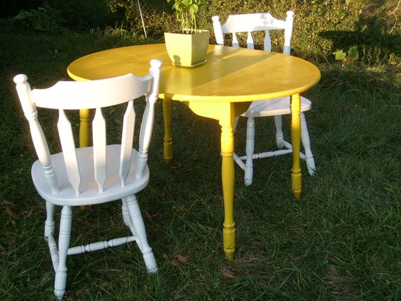 shabby chic funky yellow white dining room table by