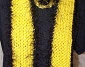 Black and Yellow Crochet Scarf Warm Winter Scarf Fun Fur Team Spirit Scarf Long Winter Scarf