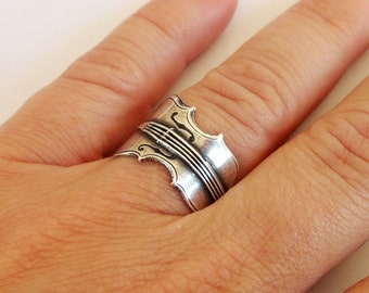 Steampunk Violin Ring- Adjustable- Sterling Silver Ox Finish
