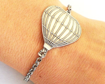 Steampunk Hot Air Balloon Bracelet- Sterling Silver Ox Finish