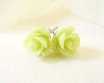 Tiny Yellow Green Rose Stud Earrings- Surgical Steel or Titanium Post Earrings- 7mm