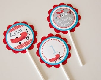Airplane Cupcake Toppers Birthday Cupcakes 12