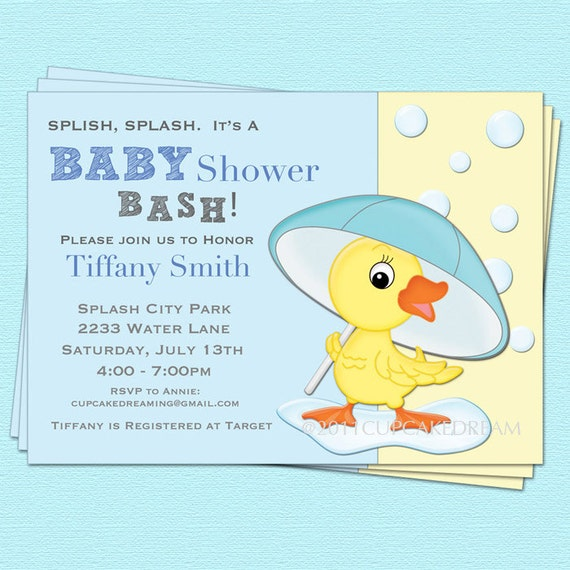 boy baby shower invitation duck baby shower by cupcakedream, Baby shower