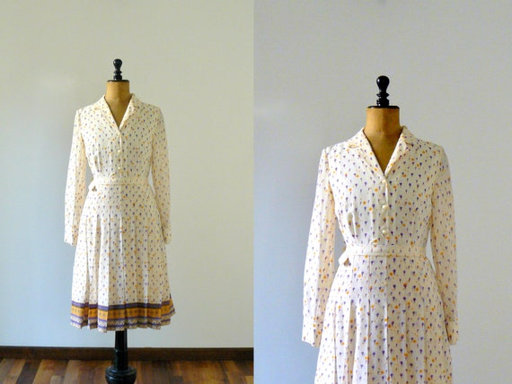 Vintage 1960s dress. 60s southwestern shirtwaist dress