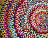 Made To Order Colorful Braided Round Rug in upcycled cotton