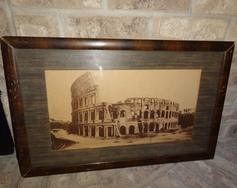 Antique Roman  Colosseum Black & White Paper Art Print Framed