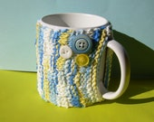 Knitted Mug Cozy - Blue Yellow and White Checkered with Buttons