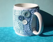 Knitted Mug Cozy - Blue Ombre Checkered with Buttons