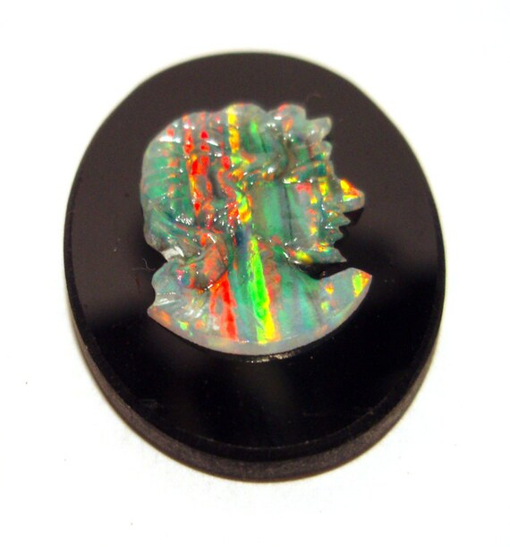 Right Facing - Beautiful Rainbow Opal Cameo Cabochon