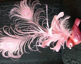 Peacock Feather Cake Topper with bird, in Choice of Pink, Pale Yellow, Gold Champagne, Blue or Lavender Bird