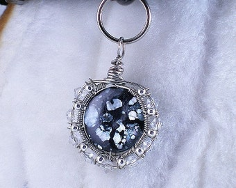 Midnight Sun - Pet jewelry dog collar charm or for people, fantasy crystal pendant, purse or zipper pull