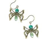 Cut-out butterfly wing earrings antique brass