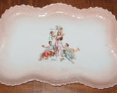 Porcelain Victorian Transferware Dresser Tray with cupids n stuff REDUCED