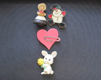 Vintage Hallmark Cards' Holiday Brooches/Pins Set of Four