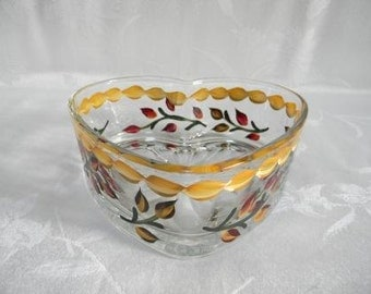 Candy dish-painted candy dish-heart shape dish-painted bowl-painted fall leaves