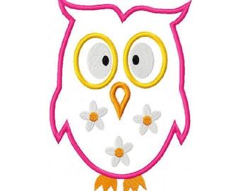 Owl Embroidery Machine Applique Design 10598
