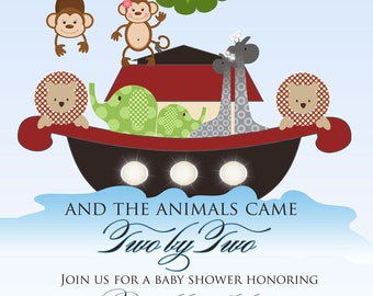 Noah's Ark Baby Shower Invitation - Noah's Ark Birthday Invitation - Digital File or Printing Deposit