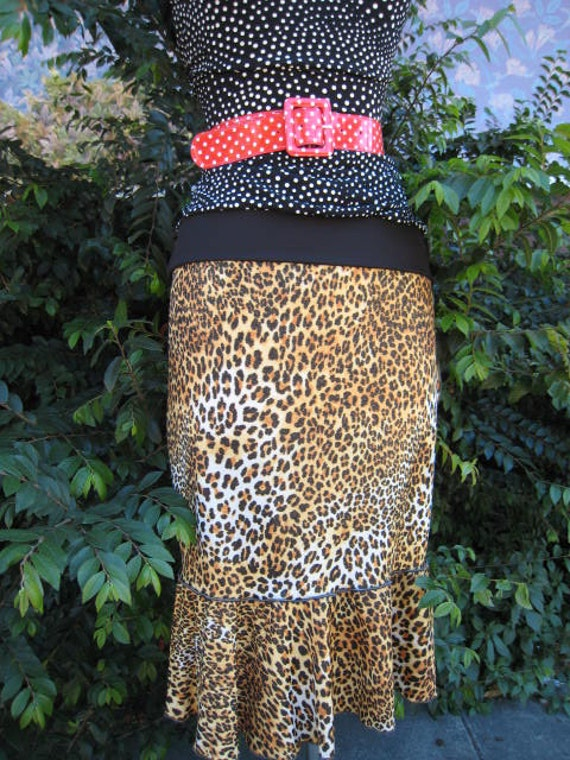Leopard print knee length skirt plus made in USA