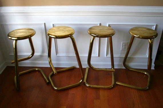 4 Vintage Brass Stools Counter Bar Stools Eclectic Home