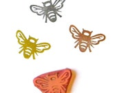 Bee rubber stamp hand carved handmade