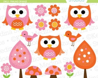 Owls - Pink and Orange - Clip Art Set - Digital Elements Commercial use for Cards, Stationery and Paper Crafts and Products