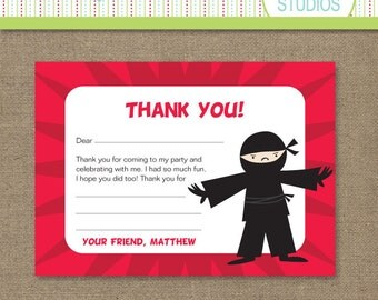 Ninja Power Birthday Thank You Note Card  5 x 7 - Red - Printable Digital Note Card - Personal Use Only