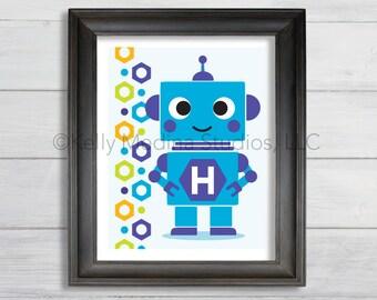 Personalized Robot Boy Wall Art Print, 8 x 10, - Blue Purple Yellow - Custom Personalized Printed Kid's Wall Art by Kelly Medina
